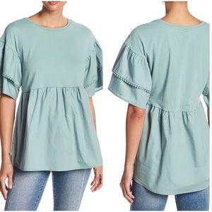Bobeau mixed media babydoll blouse medium